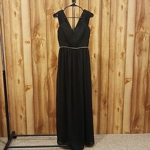 Modcloth Minuet Black Maxi Dress Pleated Bodice